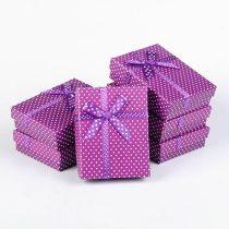 Pöttyös ékszerdoboz, karton, lila
