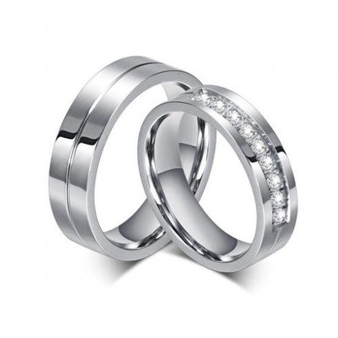 Női karikagyűrű, nemesacél, ezüstszínű, 7-es méret