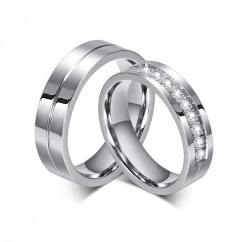 Férfi karikagyűrű, nemesacél, ezüstszínű, 10-es méret