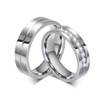 Férfi jegygyűrű, karikagyűrű, rozsdamentes acél, ezüstszínű, 12-es méret