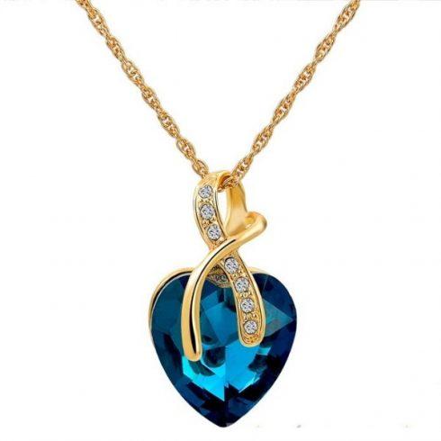 Aranyozott nyaklánc szív medállal, kék