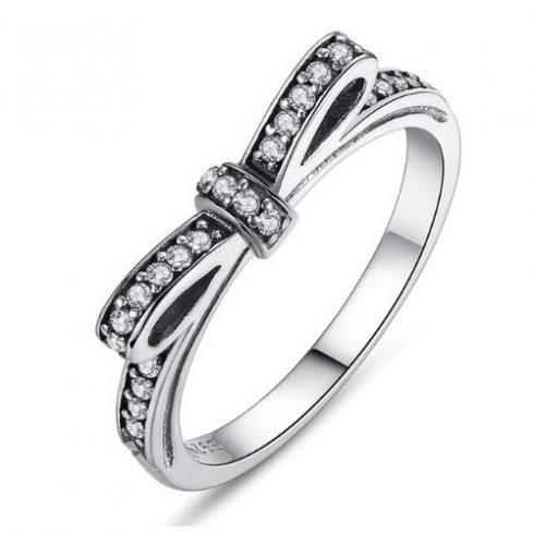 Ezüst gyűrű, masni motívummal, 8-as méret (Pandora stílus)