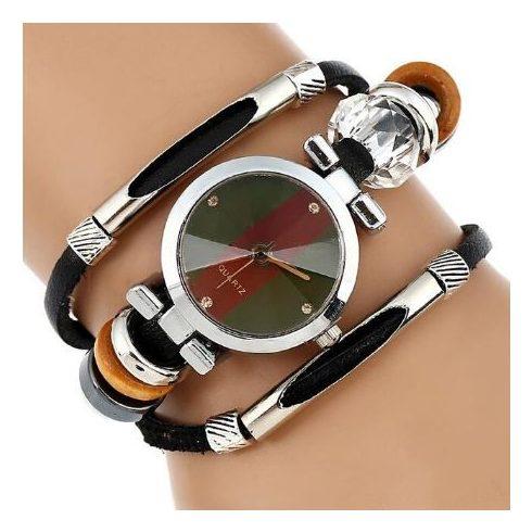 Tripla bőrszíjas női karkötő-óra, fekete