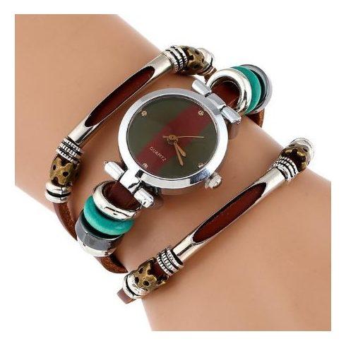 Tripla bőrszíjas női karkötő-óra, olasz stílusban
