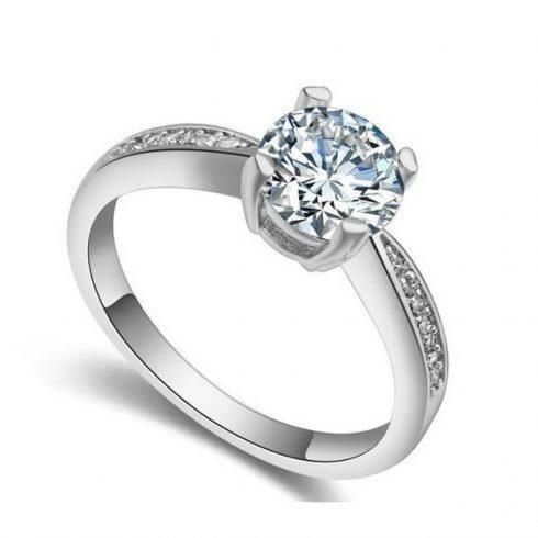 Klasszikus kör alakú köves gyűrű, Kristály, 6,5