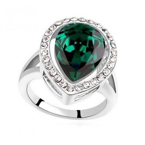 Csepp alakú gyűrű, Zöld, Swarovski köves, 8,5