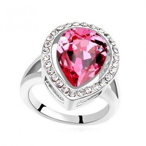 Csepp alakú gyűrű, Rózsaszín, Swarovski köves, 6,5