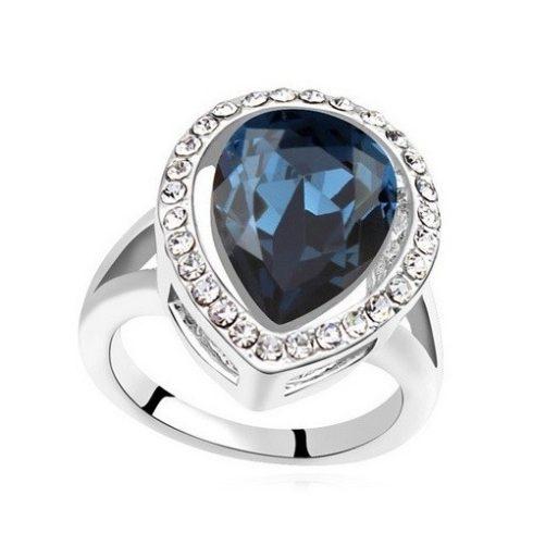 Csepp alakú gyűrű, Montana, Swarovski köves, 6,5