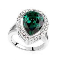 Csepp alakú gyűrű, Zöld, Swarovski köves, 6,5