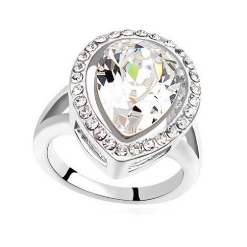 Csepp alakú gyűrű, Kristály, Swarovski köves, 8,5