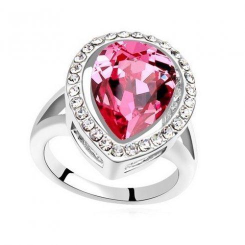 Csepp alakú gyűrű, Rózsaszín, Swarovski köves, 8,5
