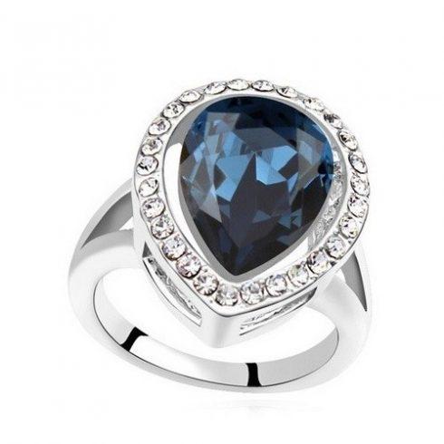 Csepp alakú gyűrű, Montana, Swarovski köves, 7,5