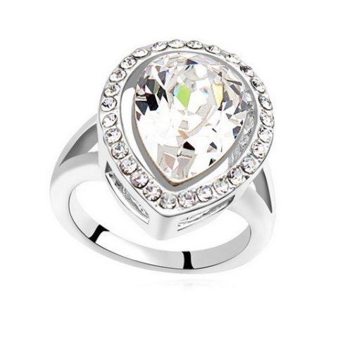 Csepp alakú gyűrű, Kristály, Swarovski köves, 6,5