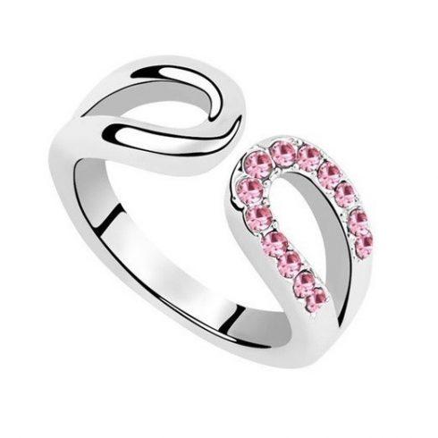 Vízcsepp alakú gyűrű, Világos rózsaszín, 8,5