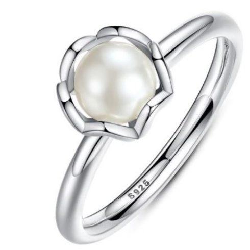 Ezüst gyűrű igazgyönggyel, 9-es méret (Pandora stílus)