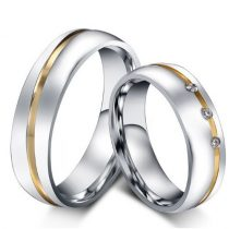 Női jegygyűrű, karikagyűrű, rozsdamentes acél, ezüstszínű, 8-as méret