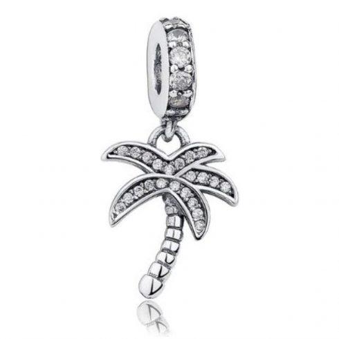 Ezüst pálmafa charm cirkonkövekkel, fehér -  Pandora stílus