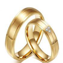 Női jegygyűrű, karikagyűrű, rozsdamentes acél, aranyszínű, 8-as méret