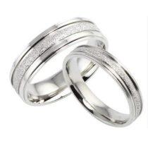 Férfi jegygyűrű, karikagyűrű, rozsdamentes acél, ezüstszínű, 9-es méret