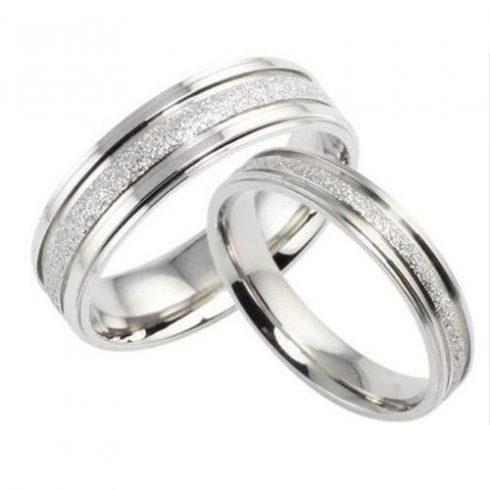 Férfi karikagyűrű, nemesacél, ezüstszínű, 11-es méret