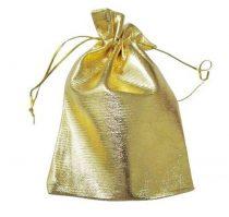 Kézzel készített arany színű zsinóros ékszerzsák 9x12 cm