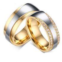 Férfi jegygyűrű, karikagyűrű, rozsdamentes acél, aranyszínű, 9-es méret
