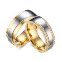 Férfi jegygyűrű, karikagyűrű, rozsdamentes acél, aranyszínű, 10-es méret