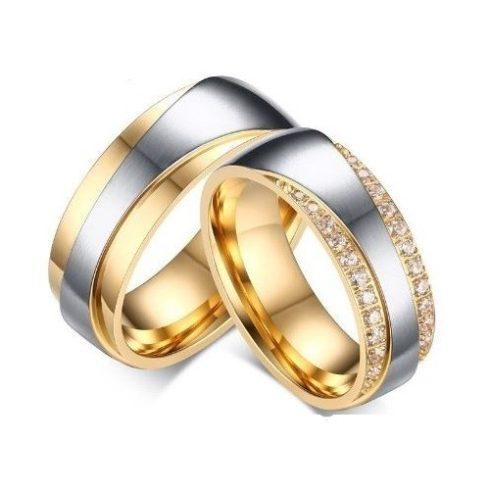 Férfi karikagyűrű, nemesacél, aranyszínű, 10-es méret