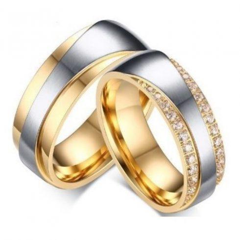 Férfi karikagyűrű, nemesacél, aranyszínű, 11-es méret