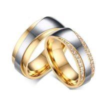Férfi jegygyűrű, karikagyűrű, rozsdamentes acél, aranyszínű, 12-es méret