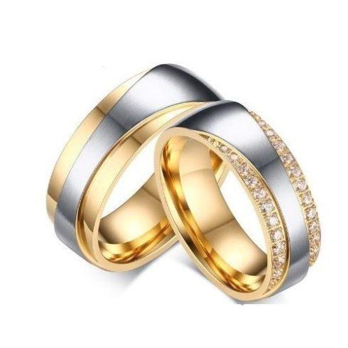Női karikagyűrű, nemesacél, aranyszínű, 9-es méret