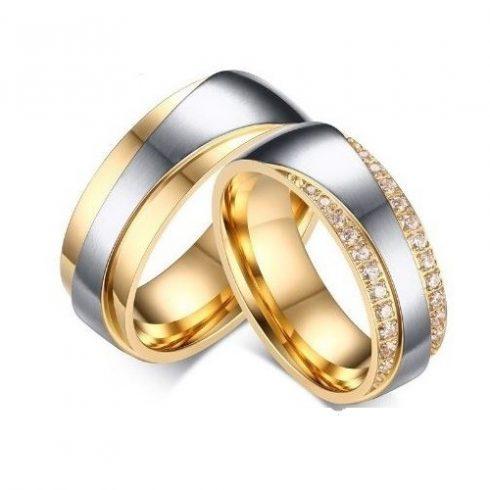 Női karikagyűrű, nemesacél, aranyszínű, 8-as méret