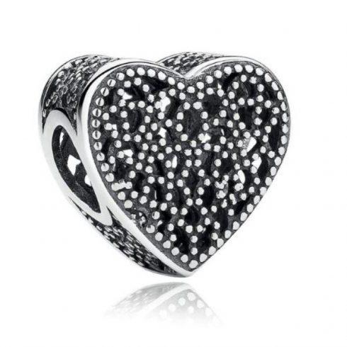 Ezüst szív charm cirkonkövekkel -  Pandora stílus