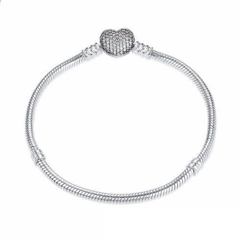 Ezüst karperec szív motívummal, 17 cm