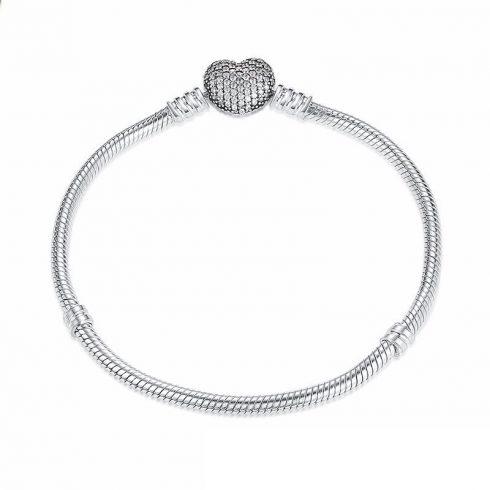 Ezüst karperec szív motívummal, 19 cm