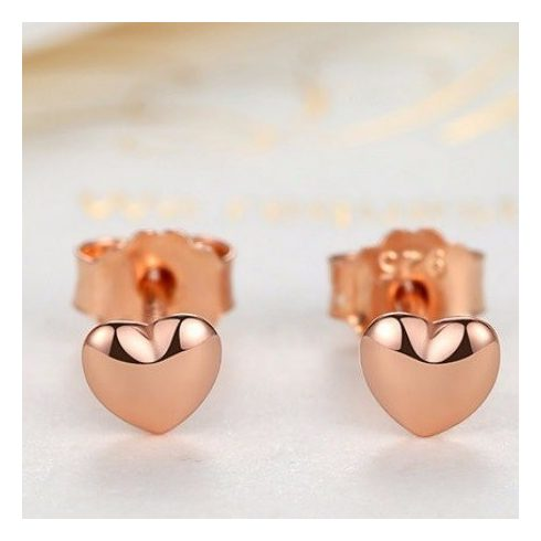 Kicsi ezüst szív fülbevaló, arany színben (Pandora stílus)