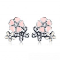Ezüst cseresznyevirág fülbevaló, rózsaszín (Pandora stílus)