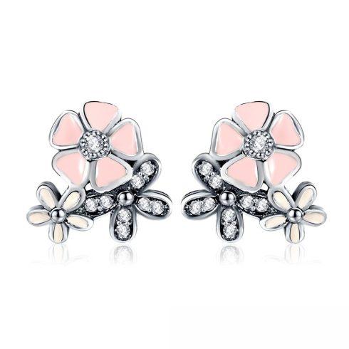Ezüst cseresznyevirág fülbevaló, rózsaszín