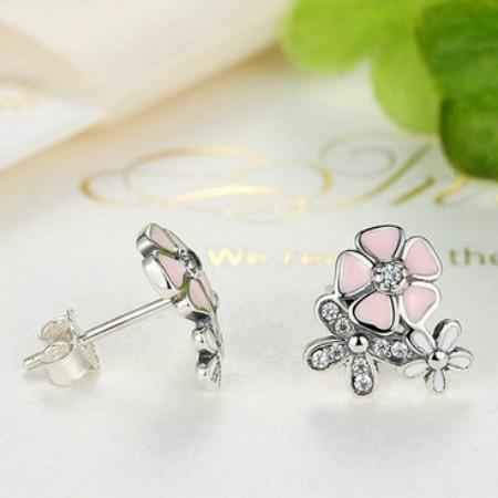 2a5c06c90 Ezüst cseresznyevirág fülbevaló, rózsaszín (Pandora stílus)
