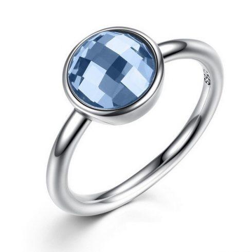 Kerek köves ezüst gyűrű, Kék, 8
