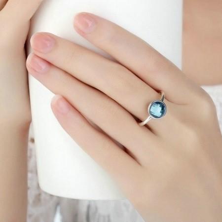 5450b39ab Kerek köves ezüst gyűrű, Kék, 8 (Pandora stílus)