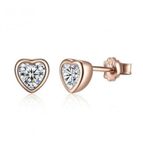 Ezüst fülbevaló, szív alakú, rosegold, rózsaarany (Pandora stílus)