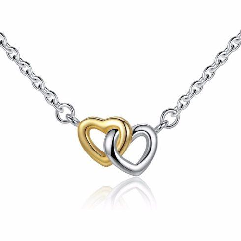 Duplaszíves ezüst nyaklánc (Pandora stílus)