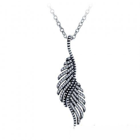 Ezüst nyaklánc madártoll függővel (Pandora stílus)