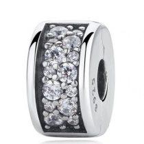 Ezüst gyöngy medál kristálykövekkel