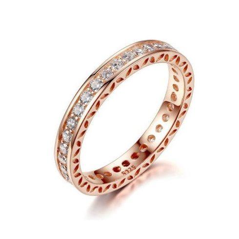 Rézből készült gyűrű cirkóniumkristállyal, rosegold, 9-es méret