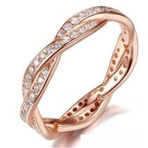 Fonott ezüst gyűrű, Rose Gold, 7