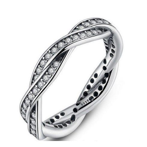 Fonott ezüst gyűrű, White, 8