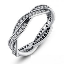 Fonott ezüst gyűrű, White, 7