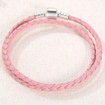Fonott karkötő, bőr, rózsaszín, ezüst kapoccsal, 36 cm